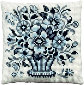 Cross stitch cushion design of flowers in Delft blue, printed