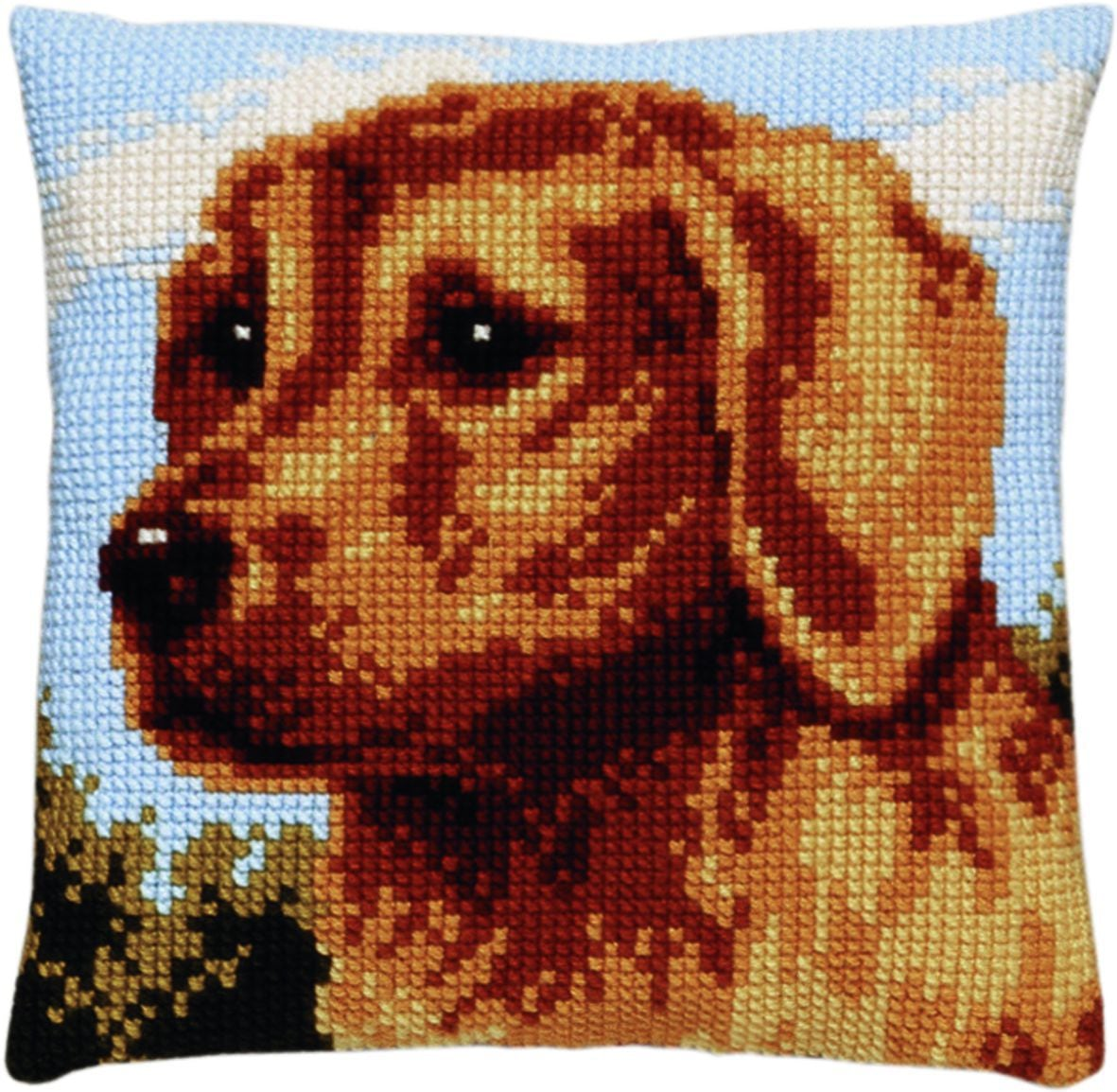 cross stitch cushion dog printed
