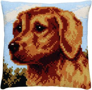 Cross stitch cushion dog, printed