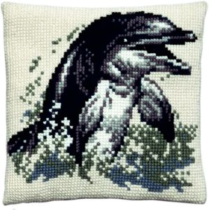 Cross stitch cushion dolphin, printed