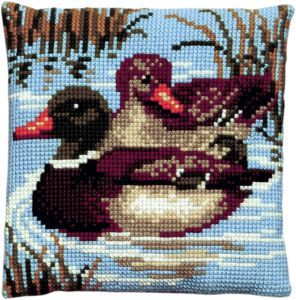 Cross stitch cushion ducks, printed