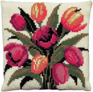 Cross stitch cushion dutch tulips, printed