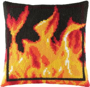 Cross stitch cushion fire,printed