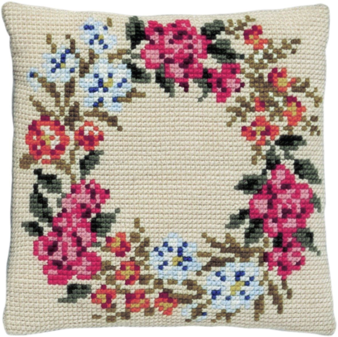 cross stitch cushion flower garland printed