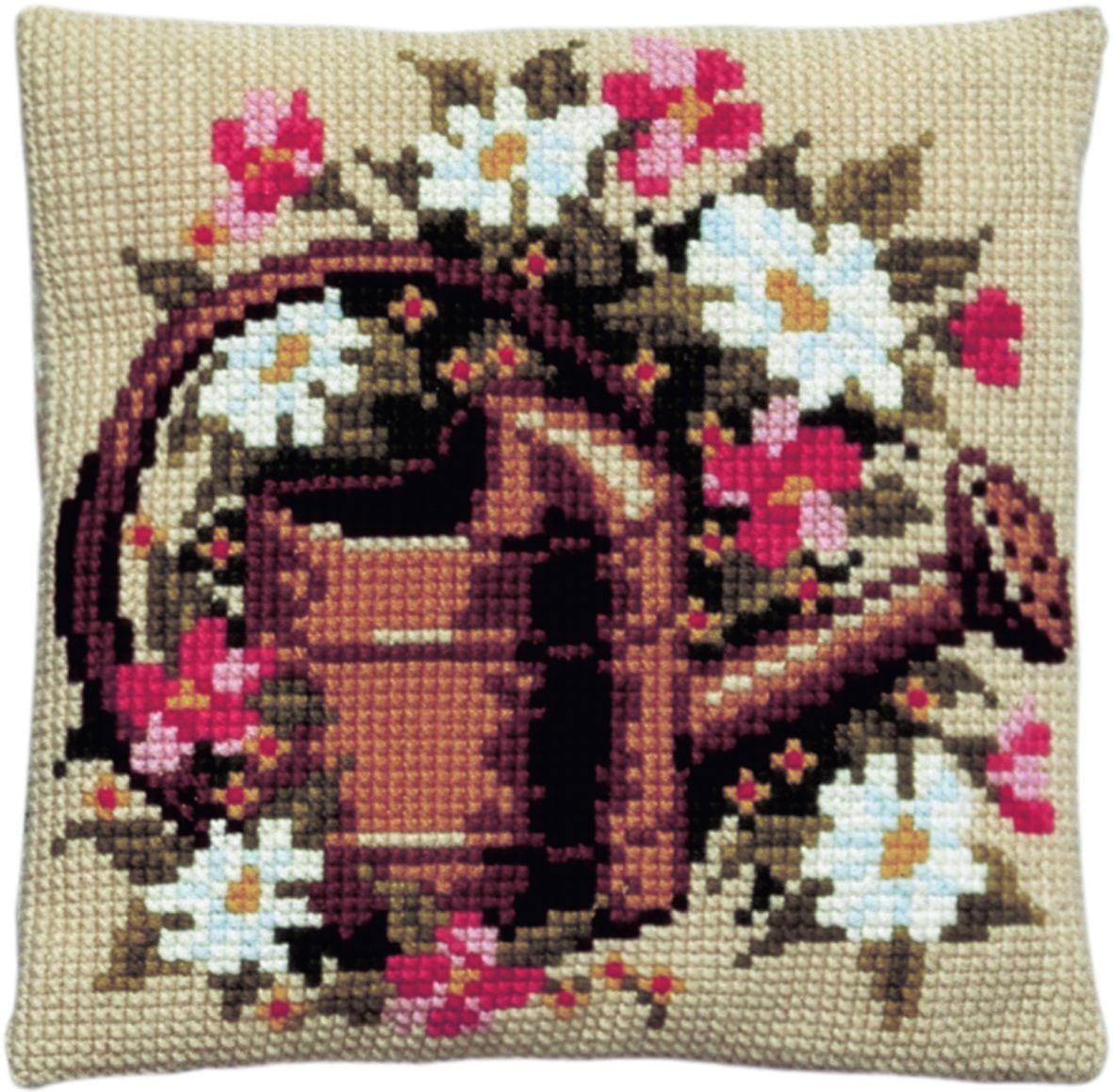 cross stitch cushion flowers in watering can printed