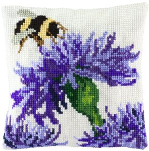Cross stitch cushion flowers with bumblebee, printed
