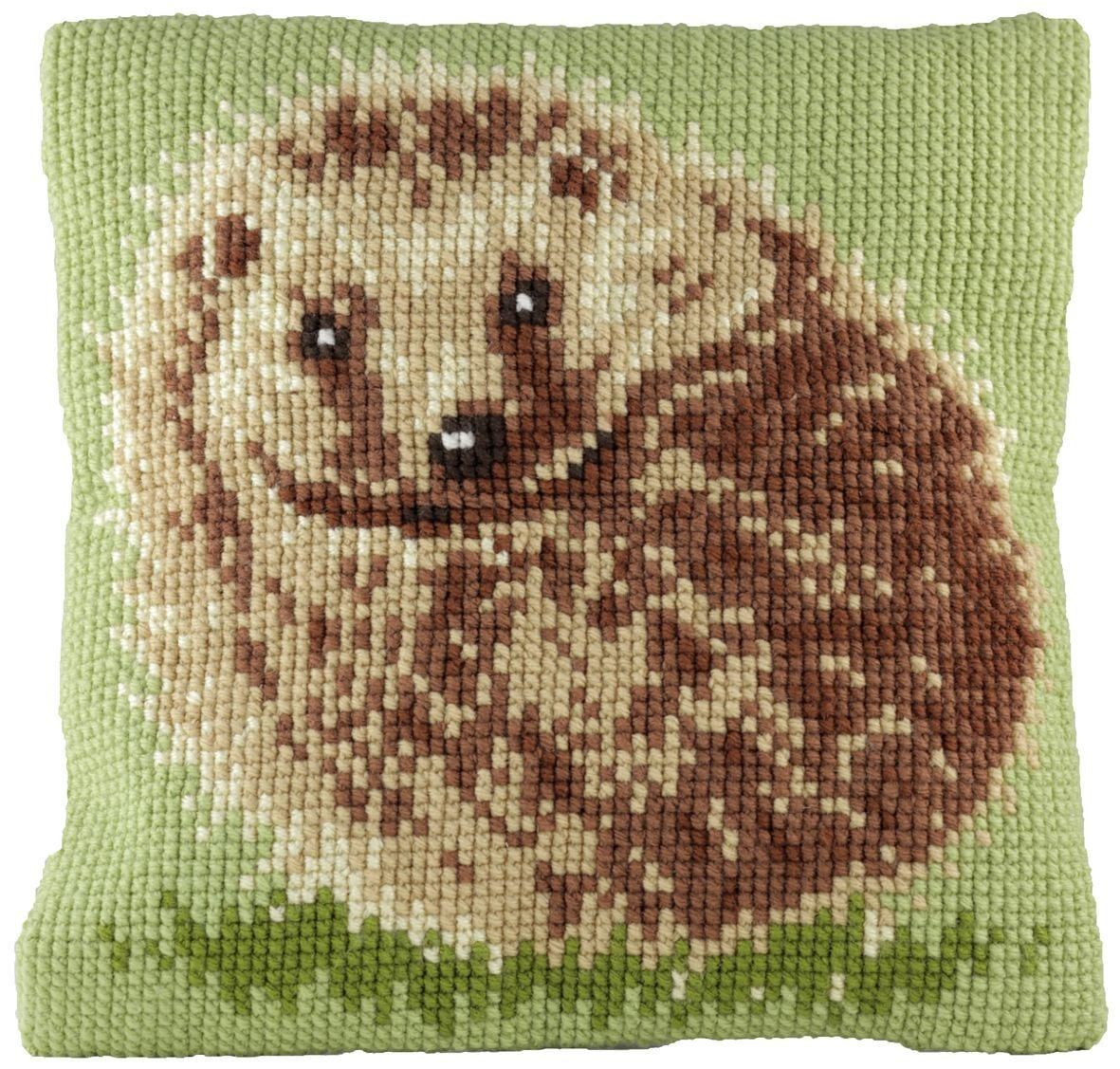 cross stitch cushion hedgehog printed