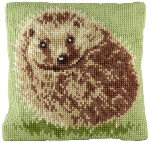 Cross stitch cushion hedgehog, printed