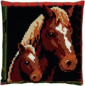Cross stitch cushion Horse and foal, printed