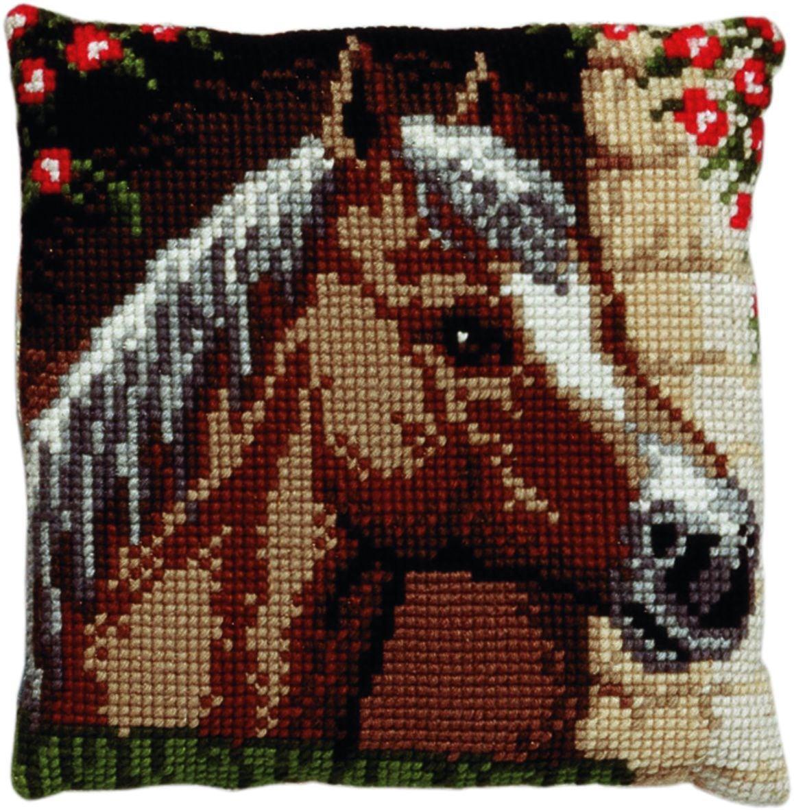 cross stitch cushion horseprinted