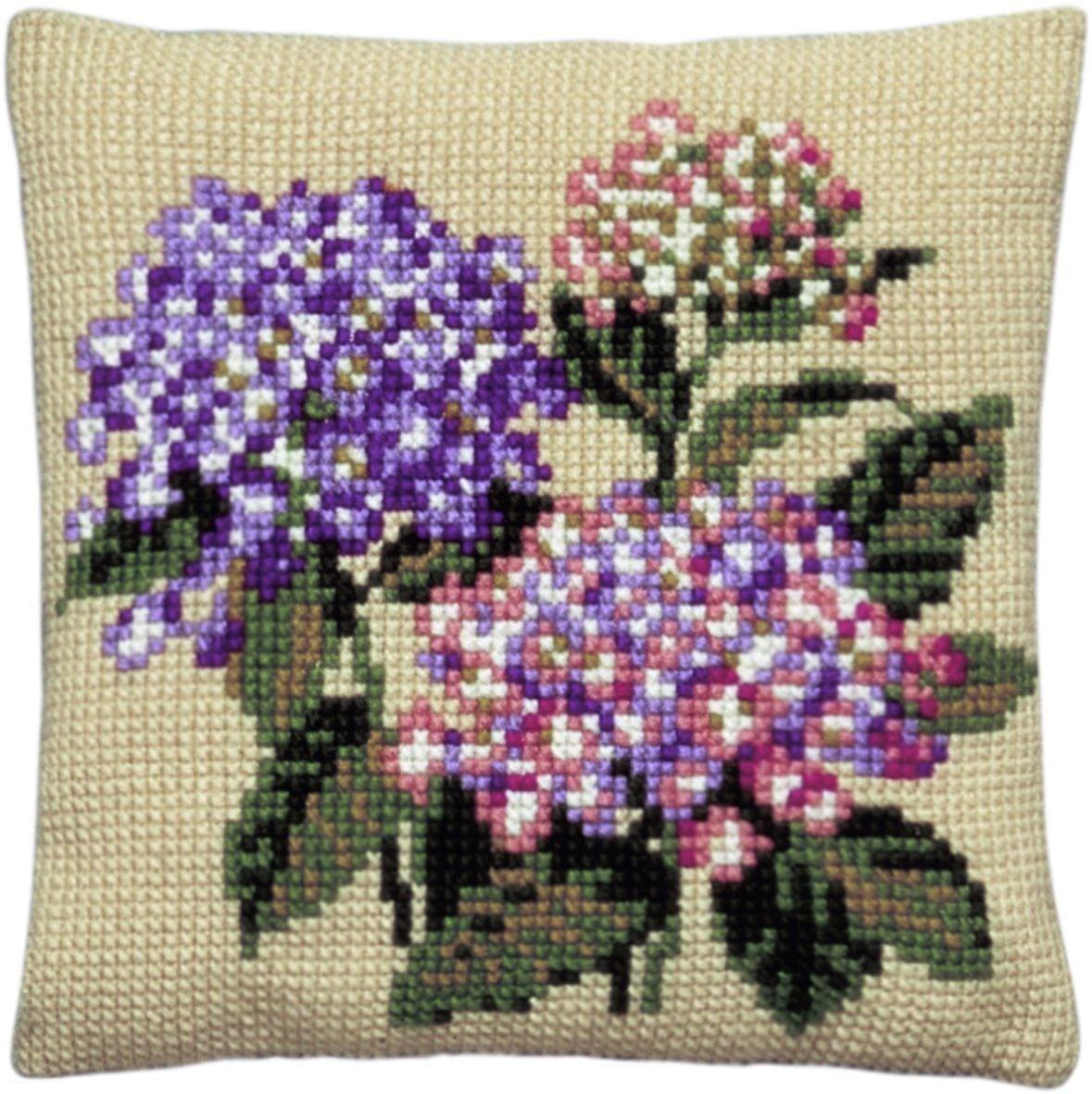 cross stitch cushion hydrangea printed