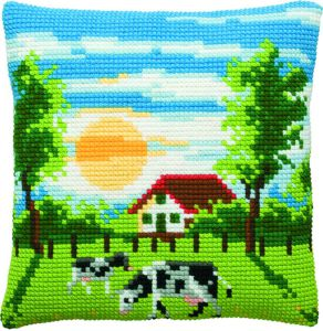 Cross stitch cushion kit dutch landscape, printed