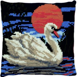 Cross stitch cushion kit swan , printed