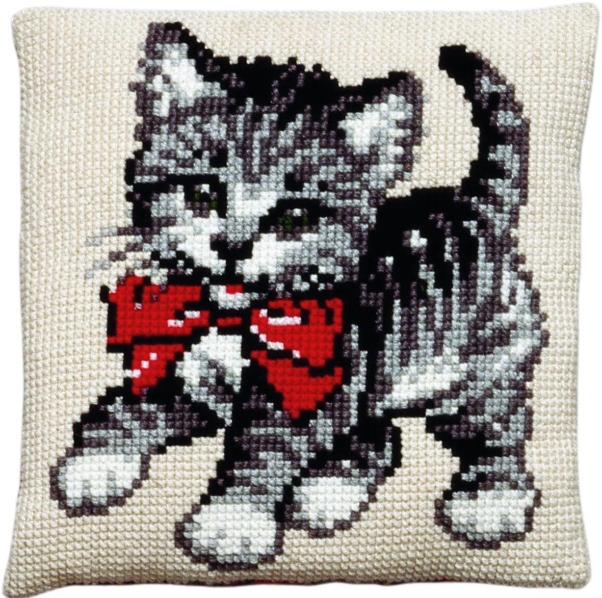 cross stitch cushion little kitten printed