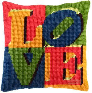 Cross stitch cushion LOVE , printed