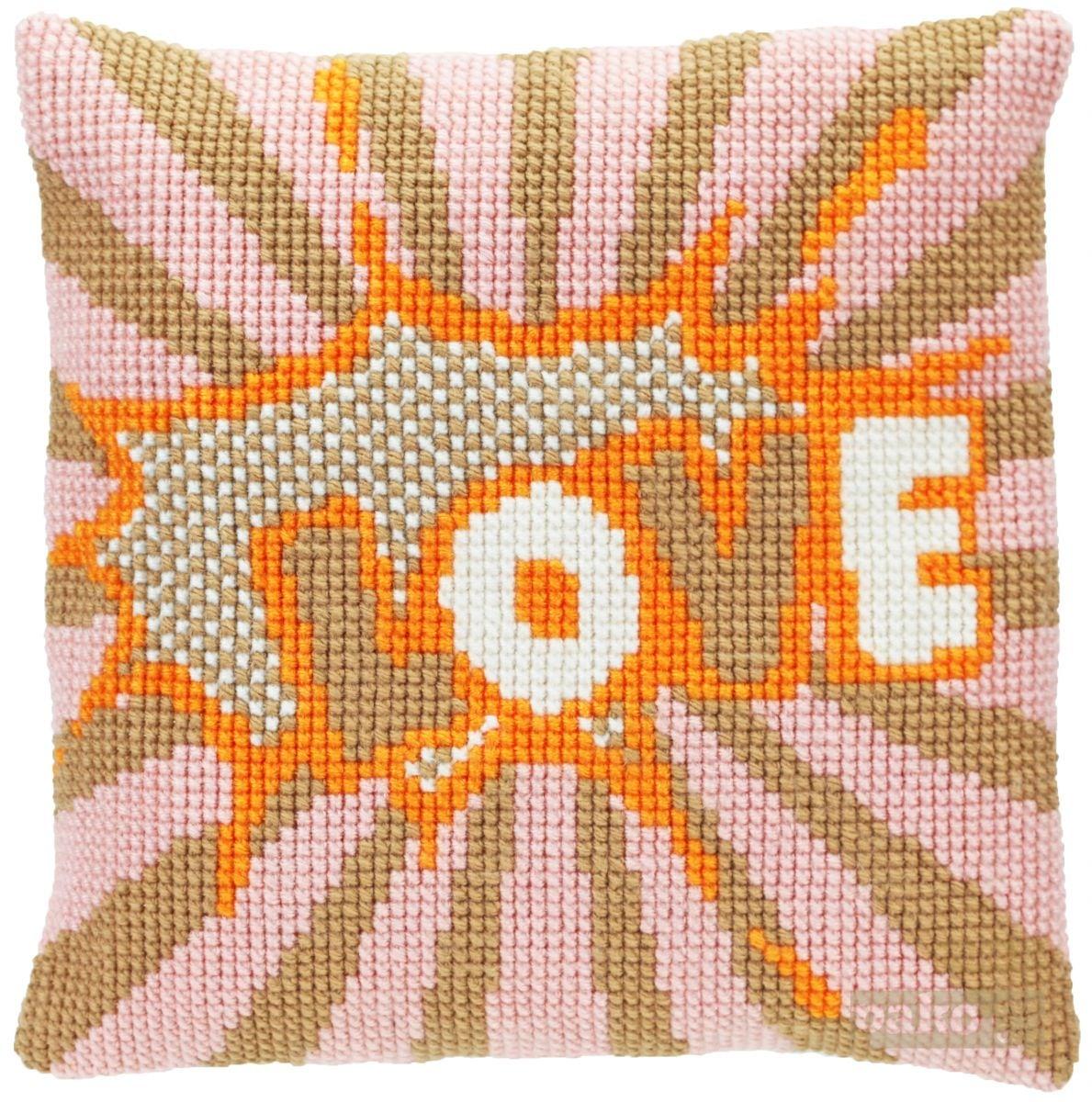 cross stitch cushion love printed