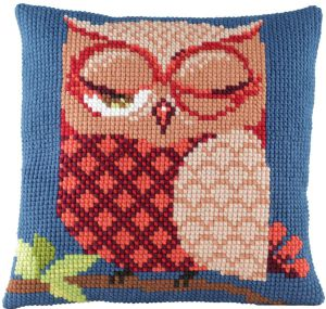 Cross stitch cushion owl , printed