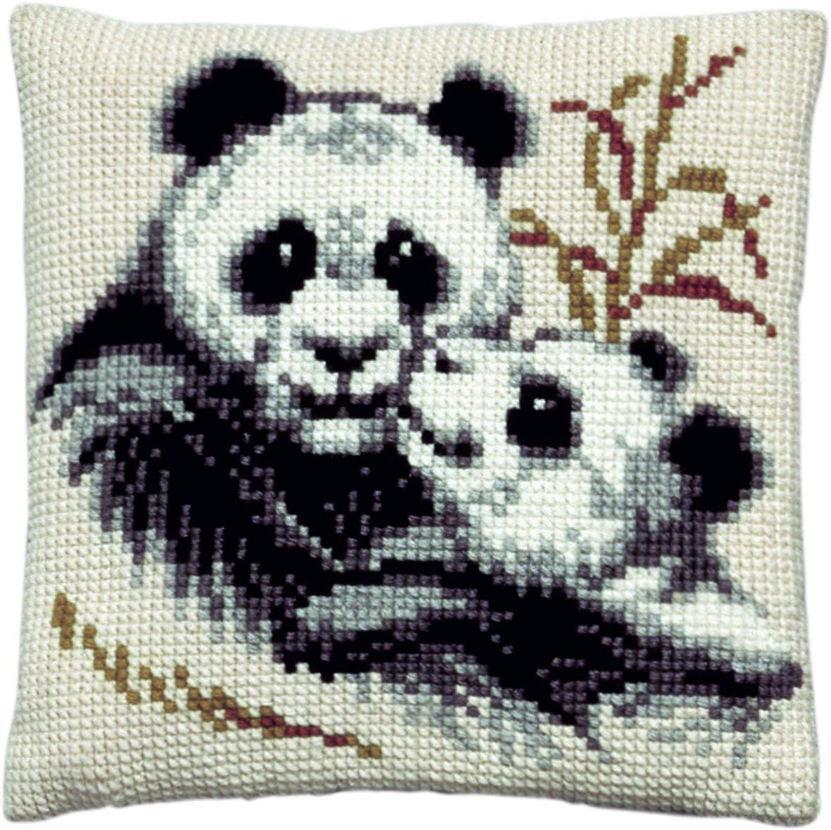 cross stitch cushion panda bears printed