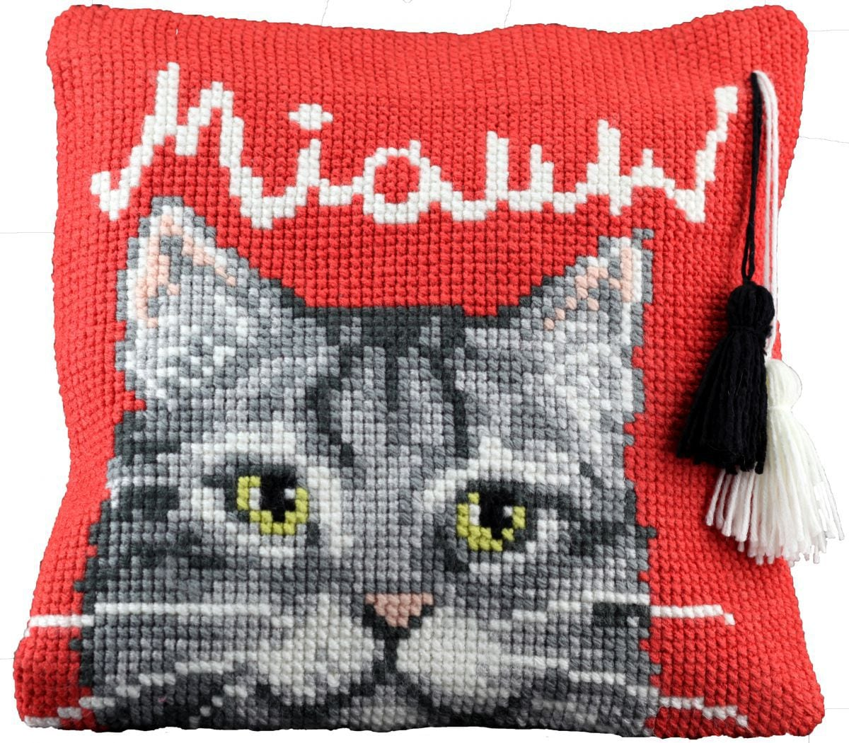 cross stitch cushion playing kittenprinted