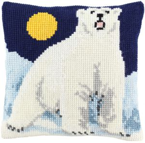 Cross stitch cushion polar bear, printed