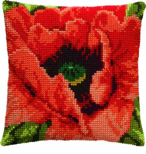 Cross stitch cushion poppy,printed.