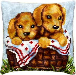 Cross stitch cushion puppies in basket, printed