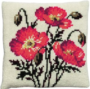 Cross stitch cushion red poppies, printed