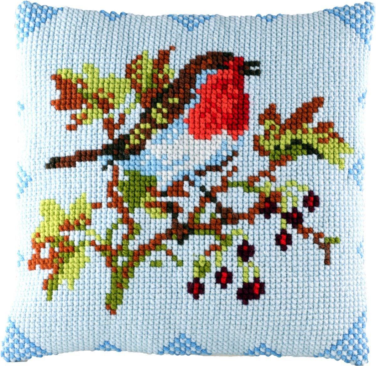 cross stitch cushion redbreast printed