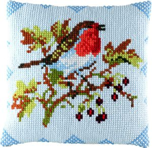 Cross stitch cushion redbreast, printed