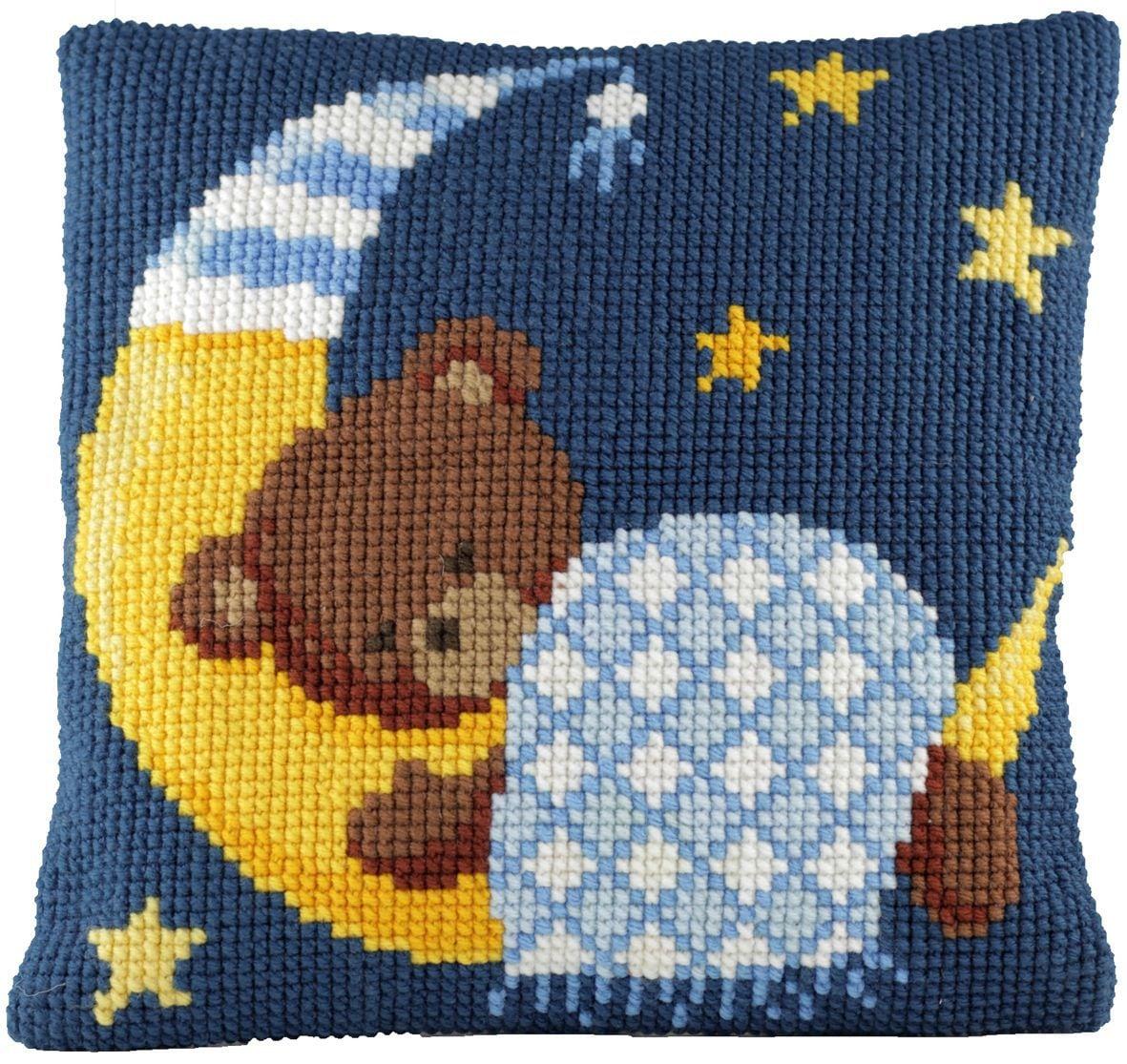 cross stitch cushion sleeping bear blue printed