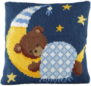 Cross stitch cushion sleeping bear blue, printed