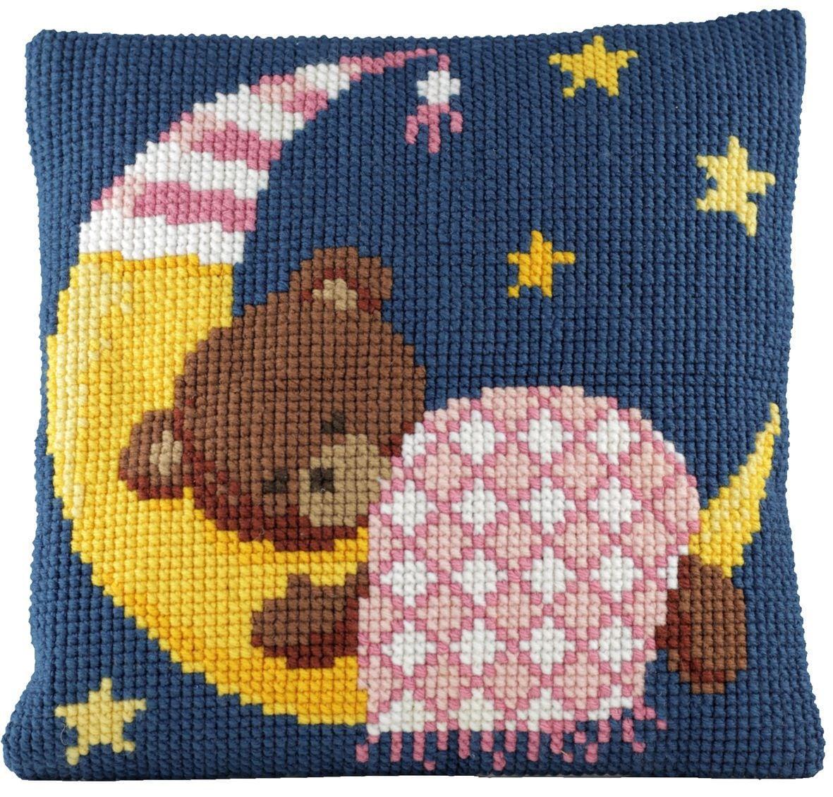 cross stitch cushion sleeping bear pink printed