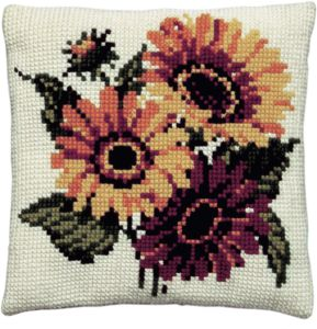 Cross stitch cushion sunflowers, printed