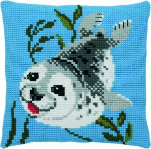 Cross stitch cushion sweet seal , printed