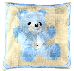 Cross stitch cushion teddy blue, printed