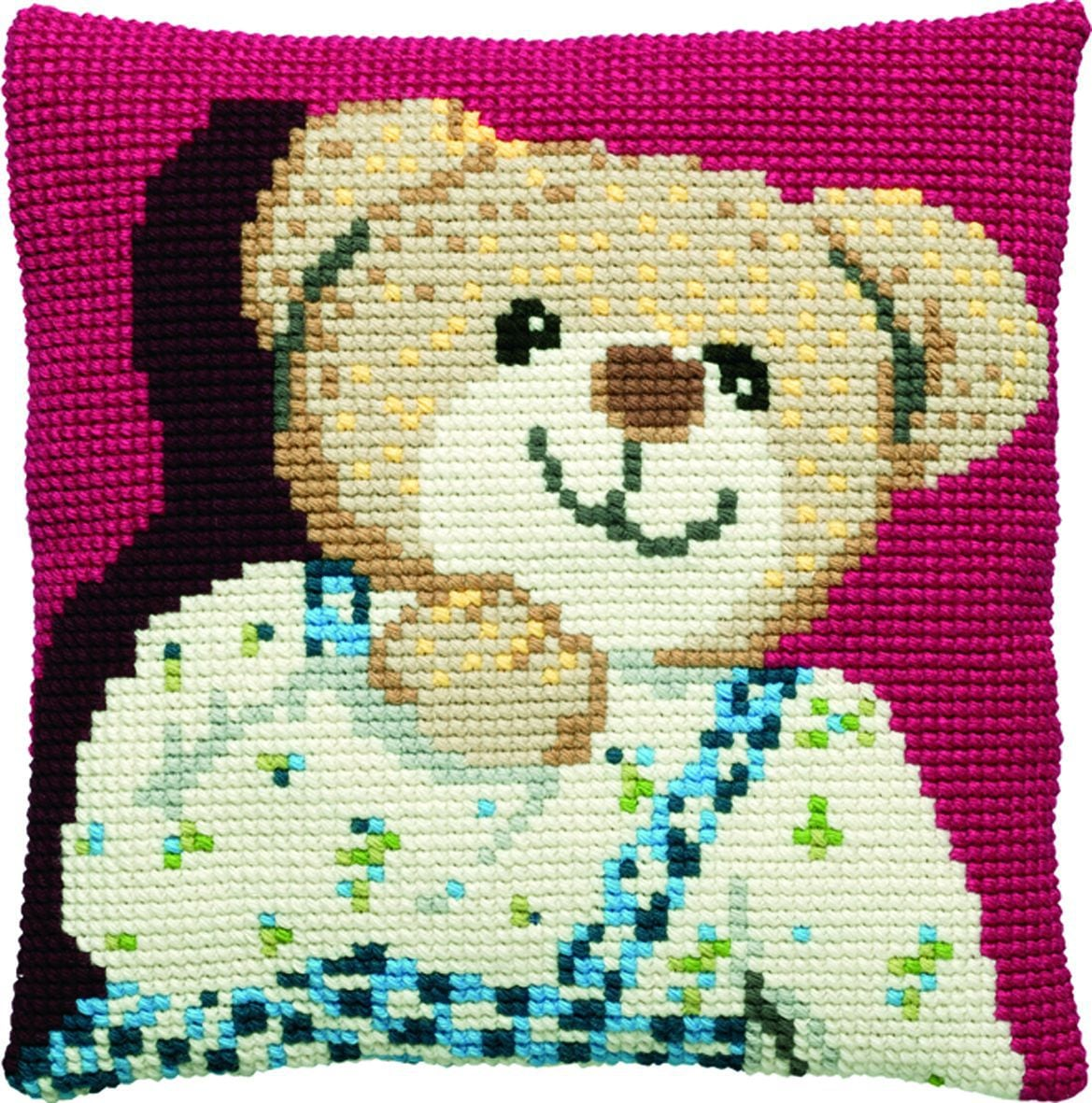cross stitch cushion teddy boy printed