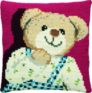 Cross stitch cushion teddy boy, printed