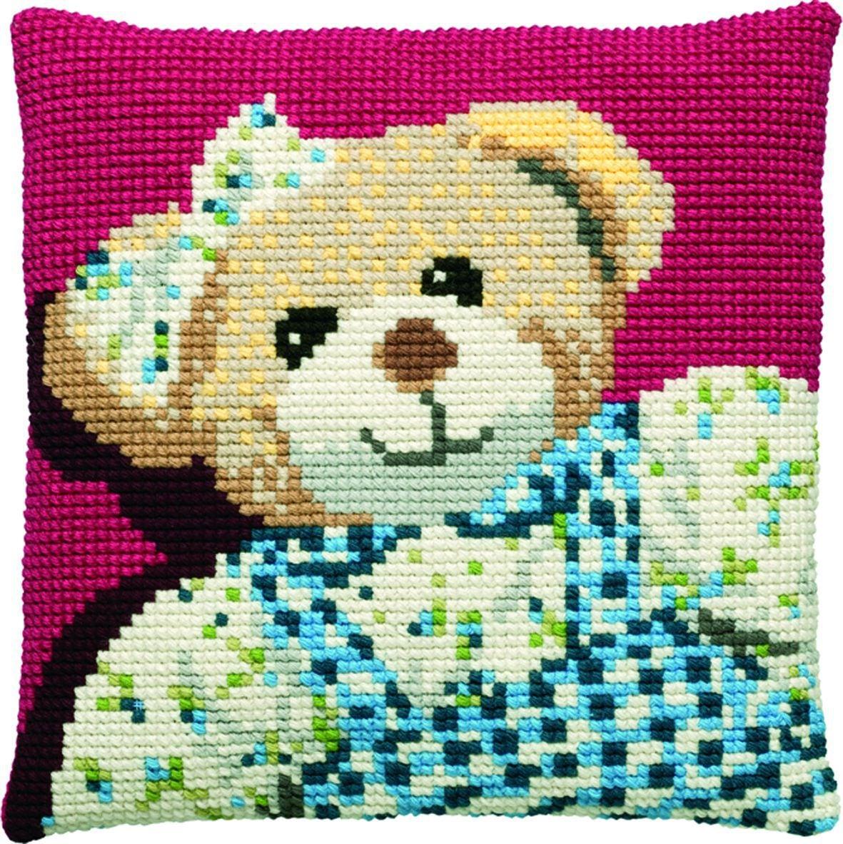 cross stitch cushion teddy girl printed