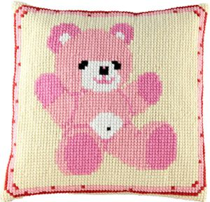 Cross stitch cushion teddy pink, printed