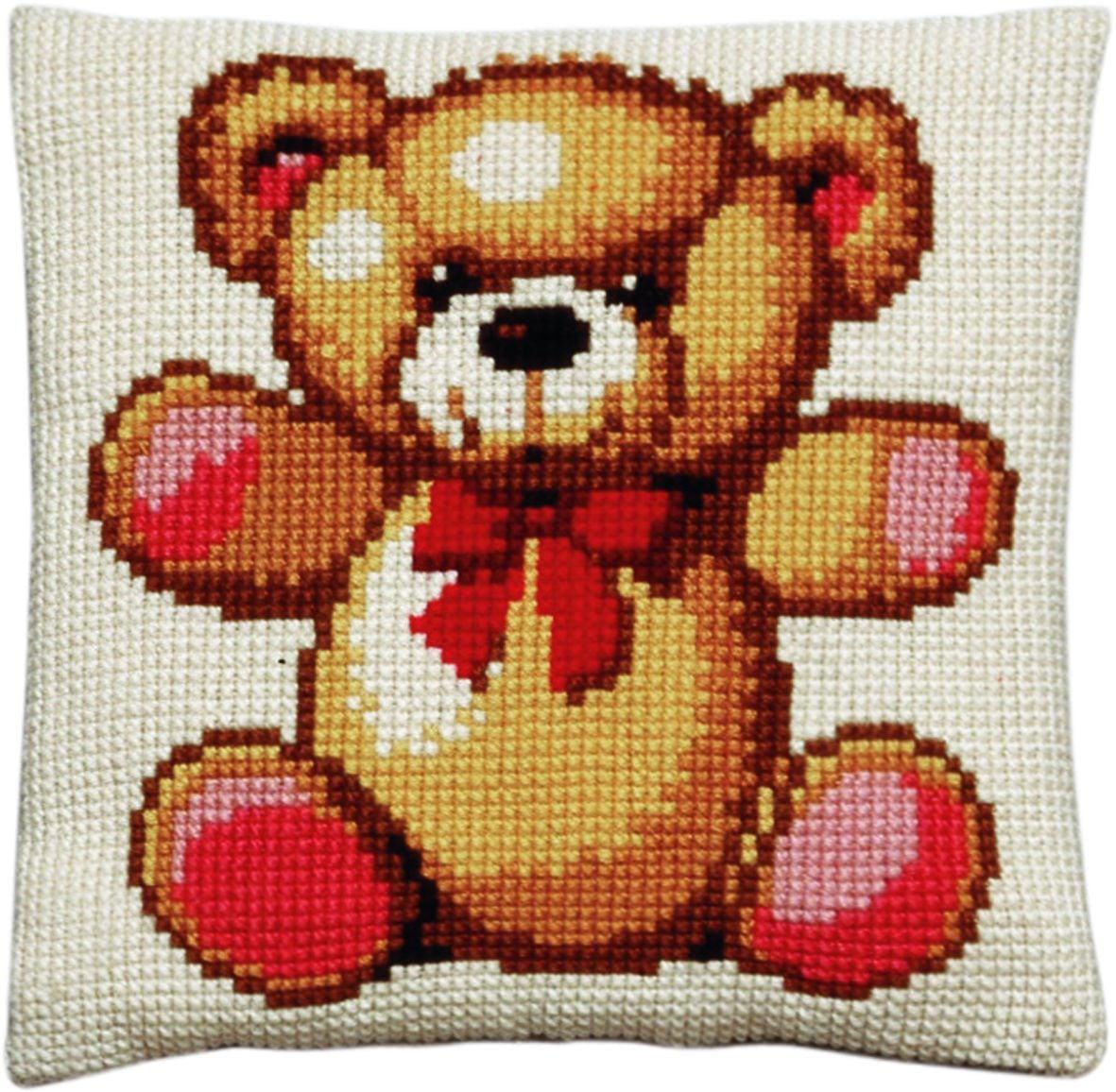 cross stitch cushion teddy printed