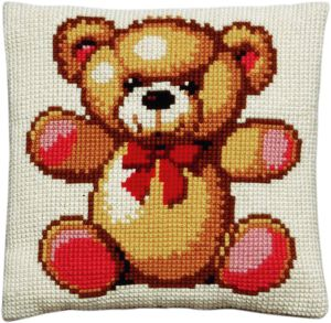 Cross stitch cushion teddy, printed