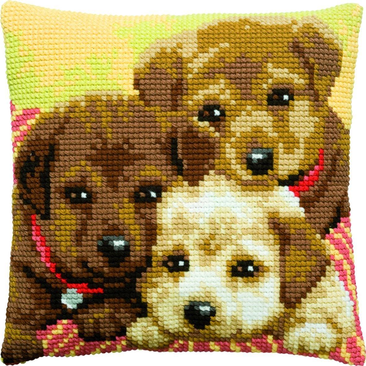 cross stitch cushion three puppies printed