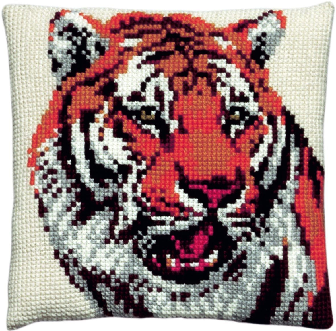 cross stitch cushion tiger printed