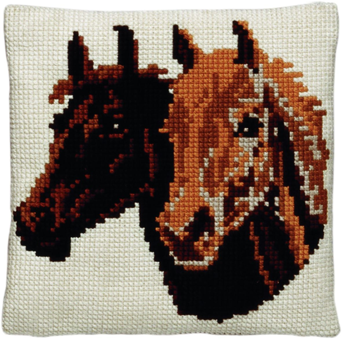 cross stitch cushion two horses printed