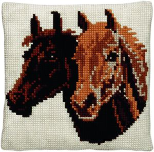Cross stitch cushion two horses, printed