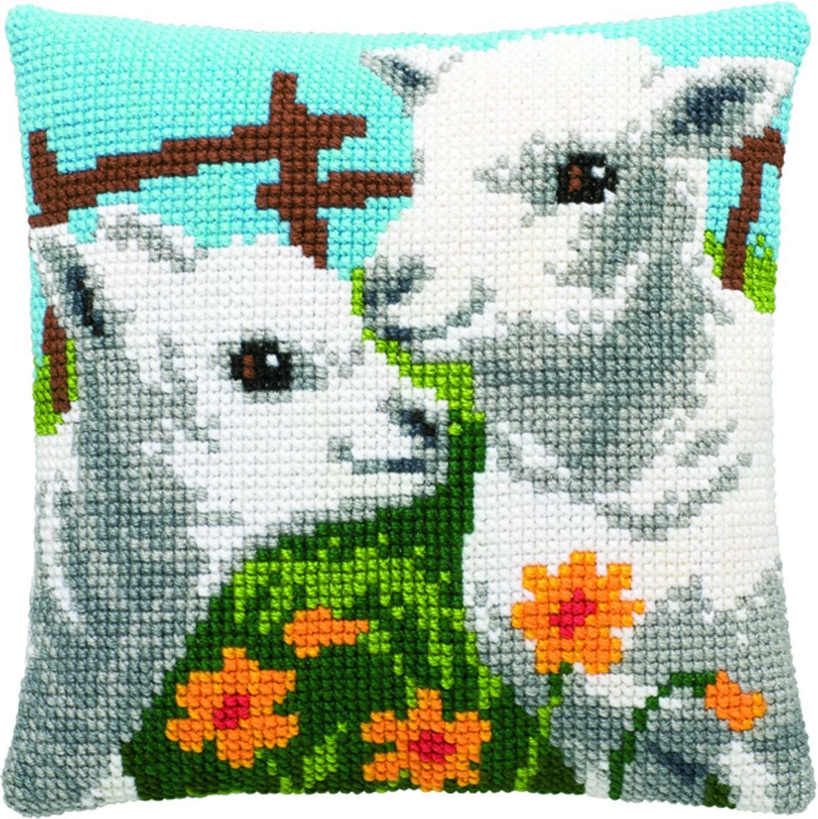 cross stitch cushion two lambs printed