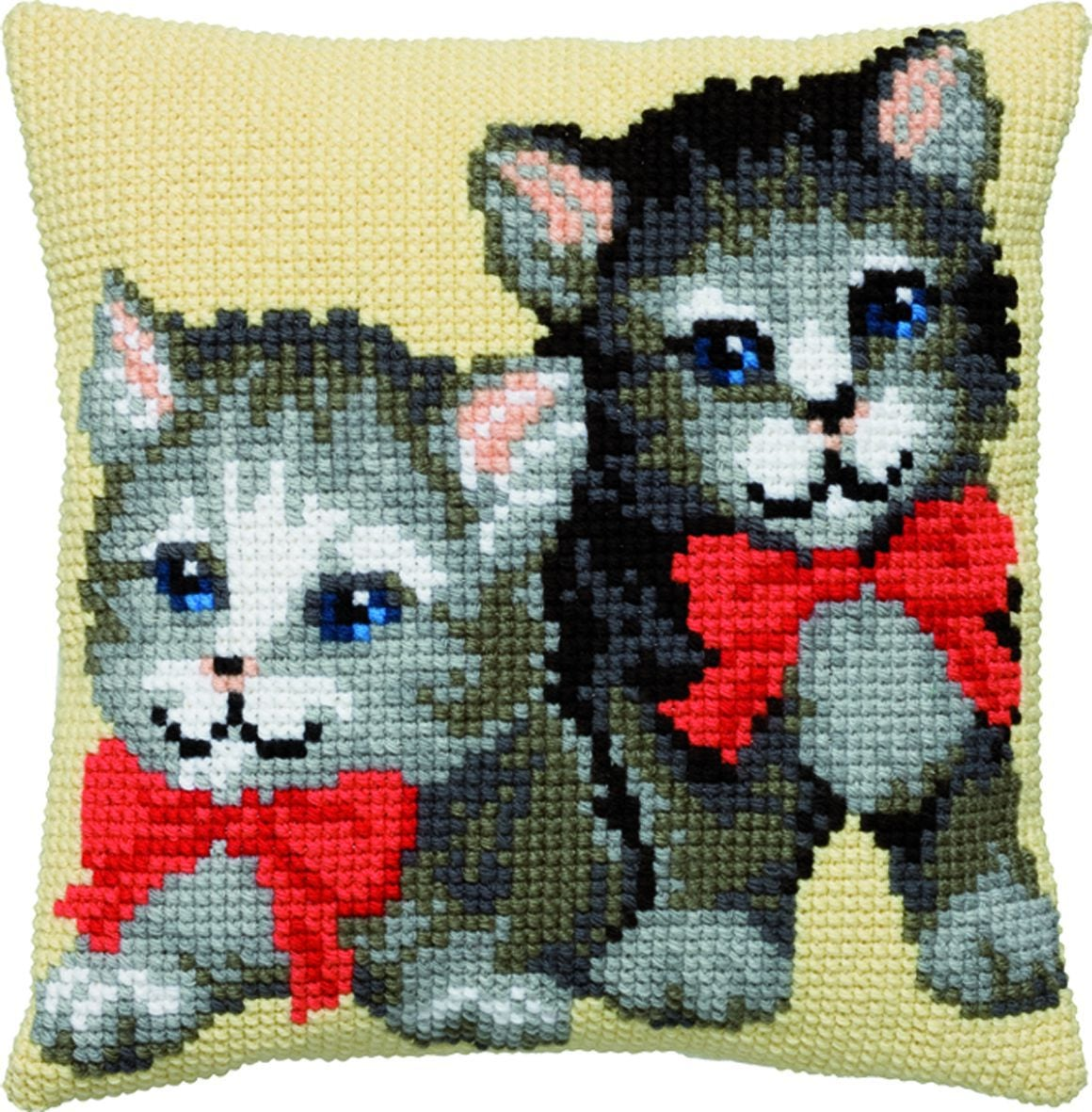 cross stitch cushion two little kitten printed
