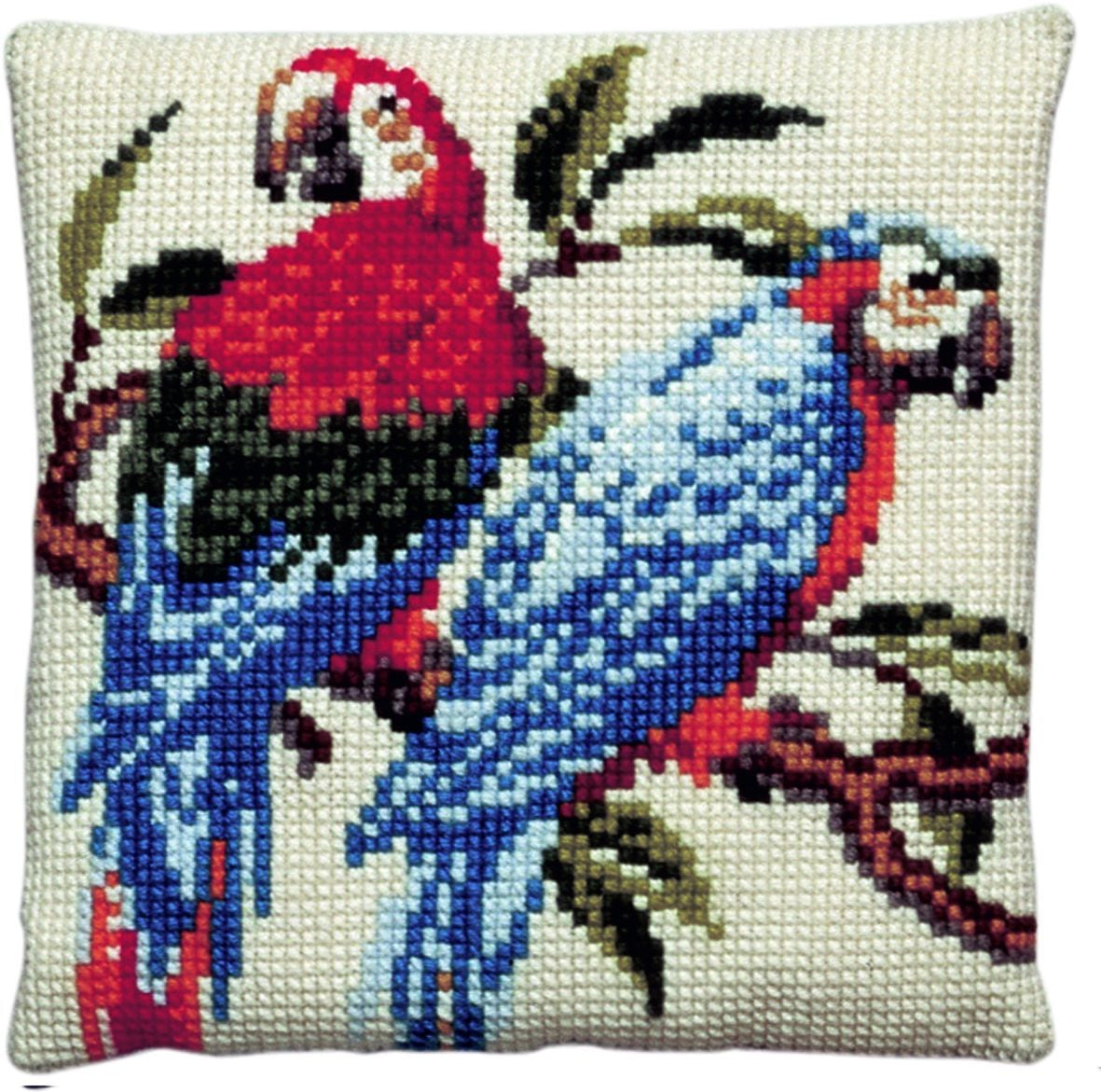 cross stitch cushion two parrots printed