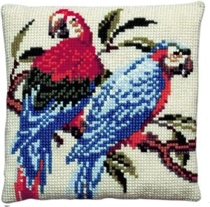 Cross stitch cushion two parrots, printed