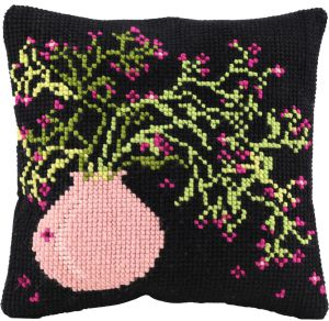Cross stitch cushion vase with flowers, printed
